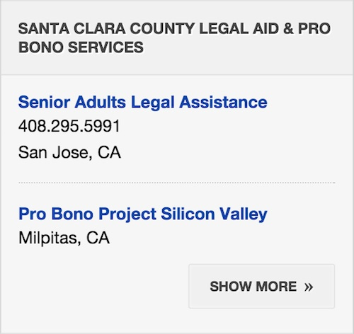 Screenshot of Probono Services sidebar.