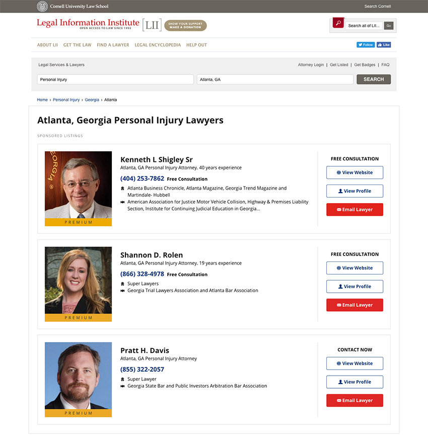 Justia Lawyer Directory Premium Placement