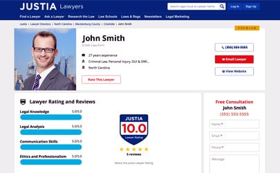 On Justia Lawyer Directory profile