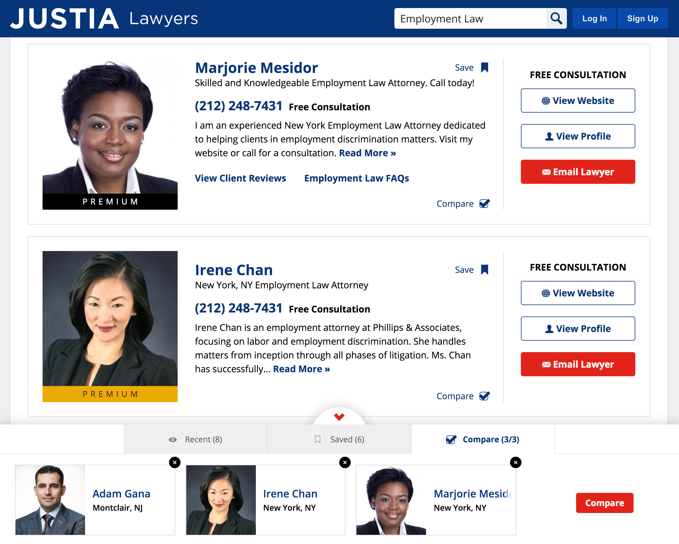 Screenshot of the lawyer comparison tab in the toolbox.