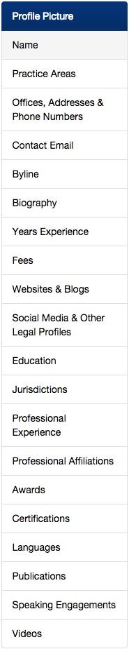 Screenshot of the profile editing menu.