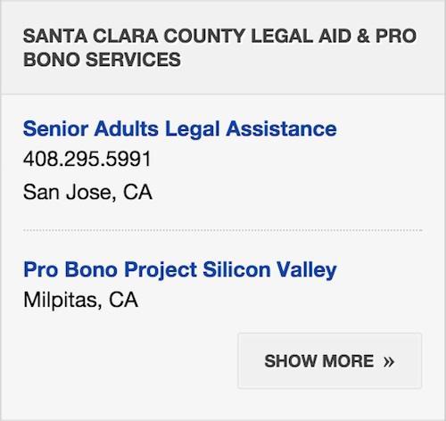 Screenshot of Probono Services sidebar.