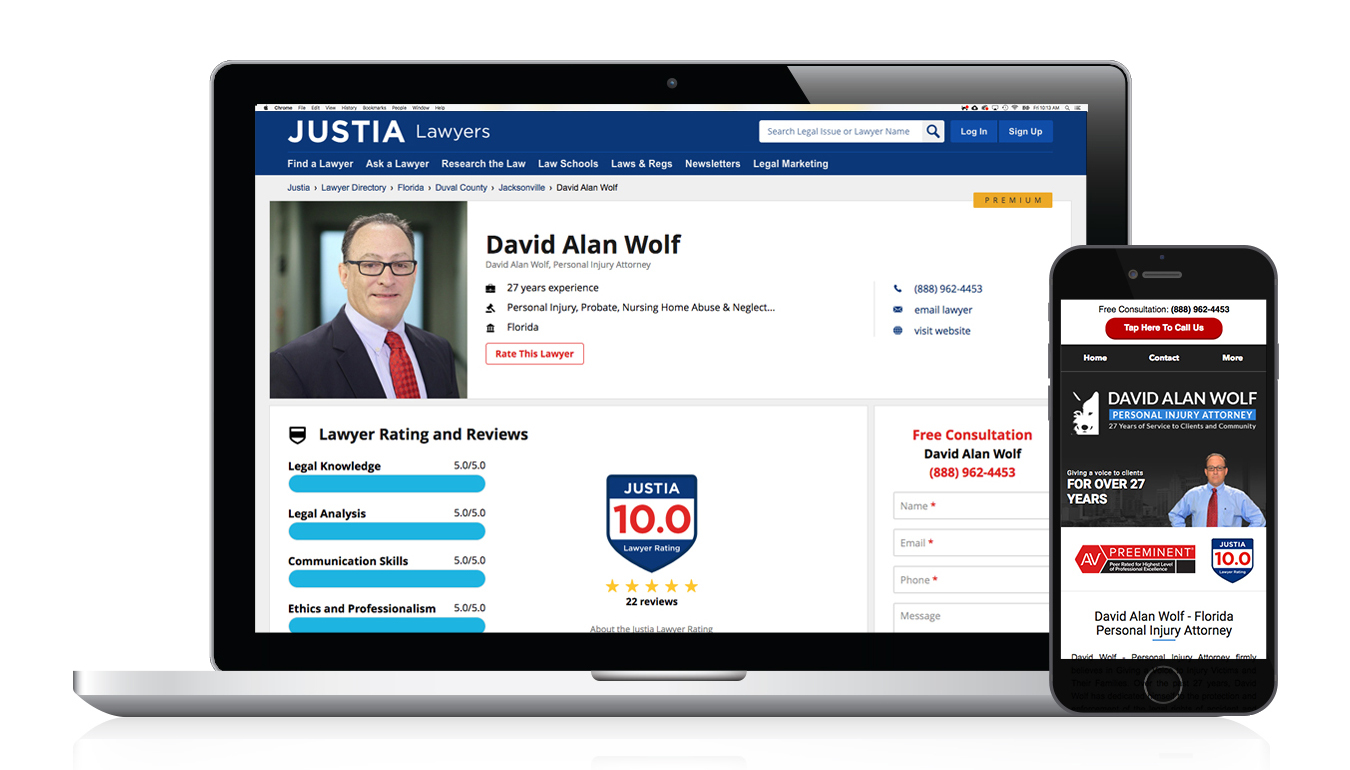 Justia Directory Lawyer Ratings and Reviews (Graphic: Lizeth Rios)